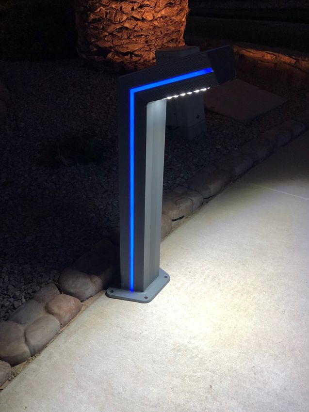 Solar Bollard Path Light With Blue Accent Led Yardbright